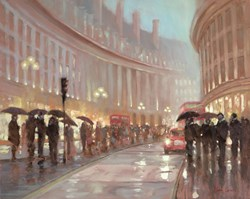 Regents Street by Mark Spain - Original Painting on Board sized 30x24 inches. Available from Whitewall Galleries